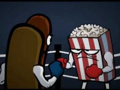 "Weird animated parody of 1950s movie ad ""Let's Go to the Lobby"" (with Zombie pop corn, cashier picking his nose) . On You Tube http://www.youtube.com/watch?feature=endscreen=28aSBRPDfh4=1"