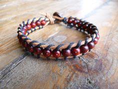 Bracelet wrap homme, bracelet original en cuir - perles en bois - brun, maron, noir - style chamballa, Chan Luu, : Bijoux pour hommes par boho-vibe