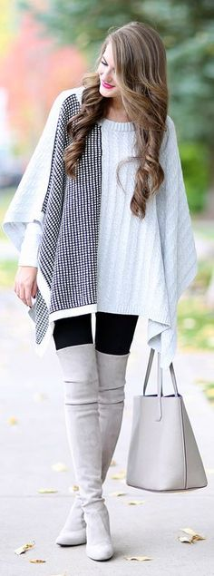 Grey Highland Boots Grey And White Poncho Fall Inspo by Southern Curls and pearls