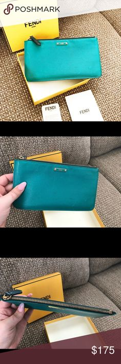 Authentic Fendi Turquoise Saffiano Pouch/Organizer Authentic Fendi Turquoise & Blue Saffiano Pouch - Bag Organizer. Extends when opened, turquoise front and blue back - Saffiano leather with gold hardware. Outside has a few small white marks as shown and light wear - interior has some darkening. Overall I'm great used condition. No accessories included unless previously arranged.****PS I couldn't get the true color of this photographed well so the first photo has a filter which ended up…