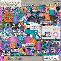 Digital Scrapbook Kit, Sew Crafty by Connie Prince