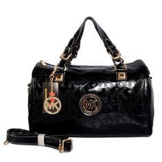 Michael Kors Grayson Logo Large Black Satchels Outlet
