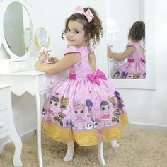 Girl's dress Lol surprise glitter confetti pink, birthday party – Dream Fashion Baby Girl Birthday Dress, Girls Party Dress, Birthday Dresses, Baby Girl Dresses, Baby Dress, Girl Outfits, Pink Birthday, Lol Doll Cake, Cute Little Baby Girl