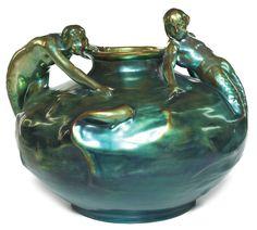 Zsolnay mermaid vase
