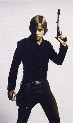 Luke Skywalker: Mark Hamill lookin hot in all black....but now I do agree with Obi Wan.....a light saber is a more elegant weapon (ditchthe gun luke)