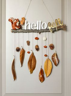 Fall Decorating 83252 make an autumn mobile in driftwood branch with hanging autumn leaves and pine cones, small figurines decorations Autumn Crafts, Fall Crafts For Kids, Nature Crafts, Diy For Kids, Diy And Crafts, Space Crafts, Small Figurines, Welcome Fall, Autumn Activities