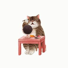 Getting ready for the day! Inspiration Art, Art Inspo, Animal Action, Illustration Art, Illustrations, Animal Wallpaper, Cat Drawing, Funny Animal Pictures, Cool Cats
