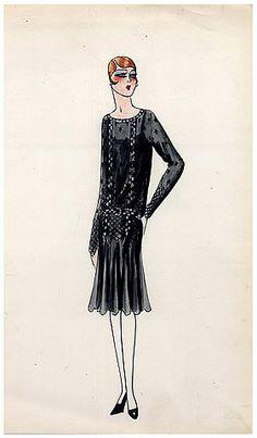 Original Fashion Drawing 1925 Flapper fashion style ''The Garçonne'' Art Deco