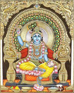 Lotus-Eyed Sri Krishna : Pho to Mysore Painting, Tanjore Painting, Krishna Painting, Kalamkari Painting, Ganesha Art, Krishna Art, Hare Krishna, Lord Krishna Images, Krishna Pictures