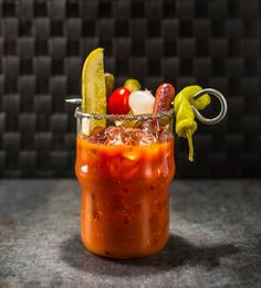 Yes, that's a hot dog sticking out of the Chicago Bloody. #BloodyMarySociety