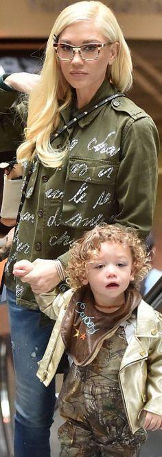 Who made Gwen Stefani's green print jacket?