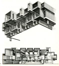 Rudolph and sectional perspective. Tiled texturing lends itself to wonderful crosshatched shading.Paul Rudolph and sectional perspective. Tiled texturing lends itself to wonderful crosshatched shading. Art Et Architecture, Architecture Graphics, Architecture Details, Retail Architecture, Architecture Student, Autocad, Therme Vals, Sectional Perspective, Axonometric Drawing
