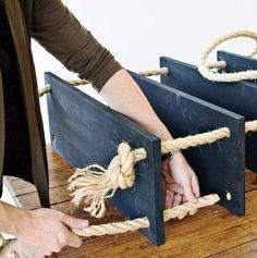 Estantería fácil con madera y cuerda