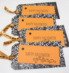 Large Halloween Tags  Set of Four Tags  by PrettyByrdDesigns