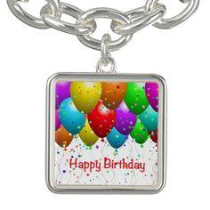 Happy Birthday Balloons Charm Bracelets