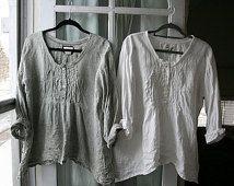 Handmade Washed Linen ' Michèle' Shirt / Lagenlook Clothing / Bohemian Clothing