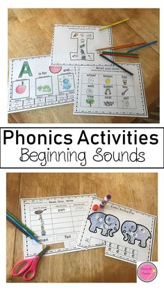 The beginning sounds packet is a perfect way for students who are getting ready to read by helping them practice beginning sounds for each letter of the alphabet. The best part is that students get to color, cut, and paste and much more. They also get a chance to practice writing their letters with correct formation.  **This download includes pages only for the vowels. Teaching Phonics, Phonics Worksheets, Phonics Activities, Classroom Activities, Math Games, Beginning Sounds, Writing Practice, Too Cool For School, School Lessons