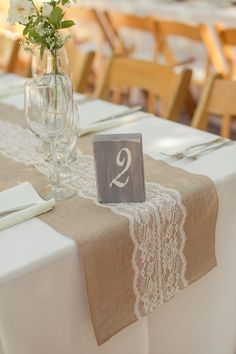 Burlap & Lace Table Runner - Holman Ranch Wedding - carlie statsky photography - Carmel Valley