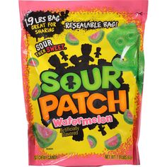 Sour Patch Soft and Chewy Candy - Watermelon oz) Sour Patch Watermelon, Watermelon Slices, Soft Candy, Chewy Candy, Swedish Fish Flavor, Accidentally Vegan Foods, Triple Chocolate Cookies, Peg Bag, Sour Patch Kids