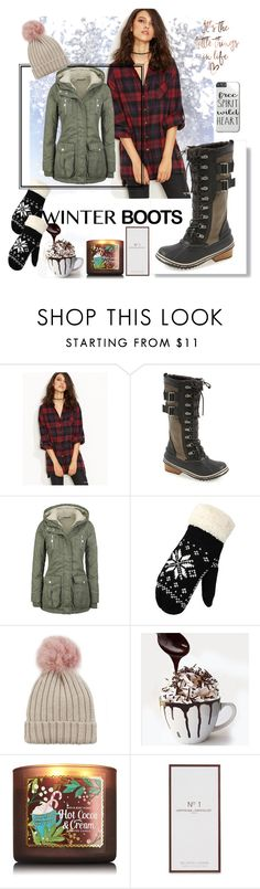 """""""Winter"""" by ttkro ❤ liked on Polyvore featuring SOREL, WithChic, Jocelyn and Artisan Du Chocolat"""