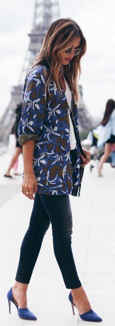 Tropical Print Blazer - daytime fashion