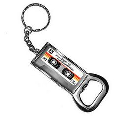 Mix Cassette Tape Of Awesomeness Keychain Key Chain Ring Bottle Bottlecap Opener, Silver
