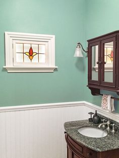 Stained Glass and Rope Lighting used as Faux Window as an example of Low-Cost Custom Details from Design Pros' Own Homes from this old house