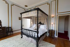 French Chateau bed room with Toile de Joue Four Poster bed