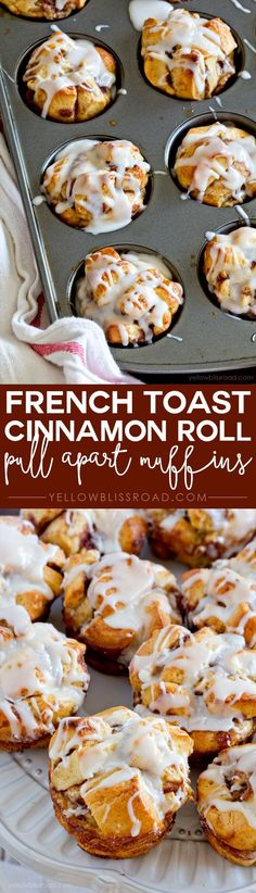 These French Toast Cinnamon Roll Pull Apart Muffins are about as easy as it gets. Made with pre-packaged Cinnamon Roll dough, eggs and milk, in just 20 minutes Muffin Recipes, Brunch Recipes, Dessert Recipes, Kraft Recipes, Cinnamon Roll Dough, Cinnamon Rolls, Cinnamon Muffins, Breakfast Dishes, Breakfast Recipes