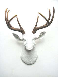 Faux Taxidermy Deer Head wall mount wall hanging wall decor in white with natural looking antlers home decor Stag Head, Faux Taxidermy, Antlers, Deer, Moose Art, Wall Decor, Wall Mount, Handmade Gifts, Animals