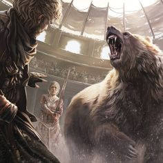 "A Song of Ice and Fire Calendar • art by Magali Villeneuve • Oct 2016 • ""In the Bear Pit"""