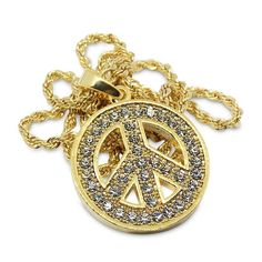 Premium 14k Gold Plated Peace Symbol with Crystals Hip Hop Bling Pendant Chain Necklace