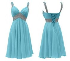 Lovely light blue rhinestone chiffon formal prom homecoming dress with straps
