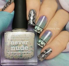 piCture pOlish 'Never Nude, Tiffany, Wisteria + Nude' black lace nails by Nina WOW shop on-line: www.picturepolish.com.au