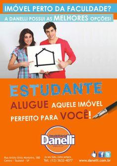 Banner A5 para a empresa Imobiliária Danelli. Tema: Locação para estudantes. #Estudantes #Danelli #Locação