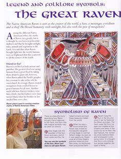 Spirit Totem Animals:  #BOS Legend and Folklore Symbols ~ The Great #Raven page.
