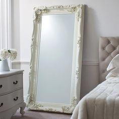 Extra Large Mirrors, Futon Design, Floor Standing Mirror, French Mirror, Ornate Mirror, White Vintage Mirror, Vintage Mirrors, Mirror Mirror, Bedroom Decor