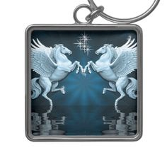 Shop Teal Pegasus Reflections Key Chain created by BlueRose_Design. Charm Rings, Pegasus, Your Image, Silver Color, Colorful Backgrounds, Reflection, Teal, Shit Happens, Key Chains