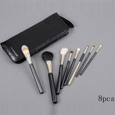 mac brush set with black pouch Mac Makeup Set, Mac Makeup Brushes, Makeup Brush Set, Discount Mac Makeup, Mac Powder, Black Makeup, Leather Phone Case, Leather Tooling, Tooled Leather