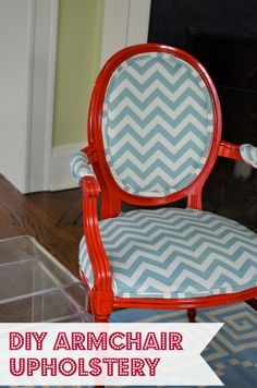 DIY upholstered armchairs chevron and red www.ciburbanity.com