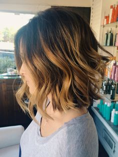 Balayage color, texturized bob and beach waves