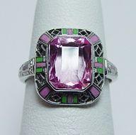 #Vintage Antique Art Deco Pink Stone Enamel Filigree #Ring 14K White Gold Estate Jewelry. www.finditforweddings.com