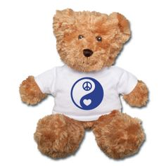 """Blue Peace and Love Yin / Yang Symbol White Shirt Anico Plush 12"""" Teddy Bear - This cute Teddy in a t-shirt is ideal if you're looking for a soft, cuddly gift for yourself or a loved one. The bear's fur is extra soft and has a real-life textured look. He's a great companion to snuggle with in bed and great for comforting kids on road trips. 100% polyester fiber (t-shirt is cotton) 12"""" standing 