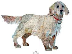 golden retriever paper and map collage