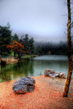 Beletsi Lake Parnitha, Attica Greece HDR fog and slight rain make the scenery even better Beletsi Lake Parnitha HDR Places Around The World, Oh The Places You'll Go, Places To Travel, Places To Visit, Around The Worlds, Attica Greece, Athens Greece, Places In Greece, Greek Isles