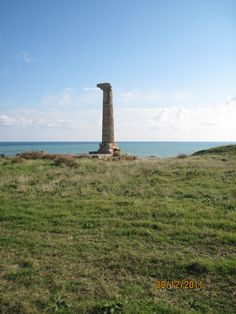 The last Column of the ancient greek temple of Hera in the ancient Kroton, today Crotone, Calabria, Italy