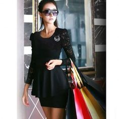 $7.06 Exquisite Scoop Neck Solid Color Layered Ruffles Transparent Black Long Sleeve Lace Dress For Women