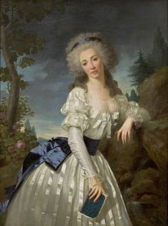 Portrait of a Lady with a Book, Next to a River Source by Antoine Vestier, ca 1785 France, (In the period & style)