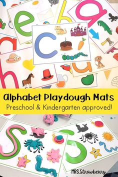 Alphabet Playdough Mats - Your preschool and Kindergarten students are going to love these ABC play-doh mats for their ELA, literacy, letter recognition, and phonics learning skills. Use these with your classroom or homeschool students or kids. These are great for fine motor practice, centers, stations, independent work, homework, and more. Encourage students to form each letter of the alphabet and create masterpieces for objects beginning with each letter. {preK, Kindy}