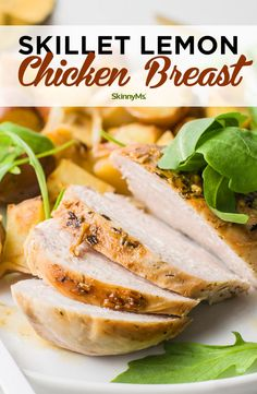 We love one-pan meals, and this Skillet Lemon Chicken Breast Dinner is not only delicious but cleanup is a breeze. It makes a great weeknight dinner. Clean Eating Recipes For Dinner, Healthy Dinner Recipes, Appetizer Recipes, Skinny Recipes, Healthy Meals, Healthy Food, Appetizer Ideas, Healthy Tips, Healthy Eating
